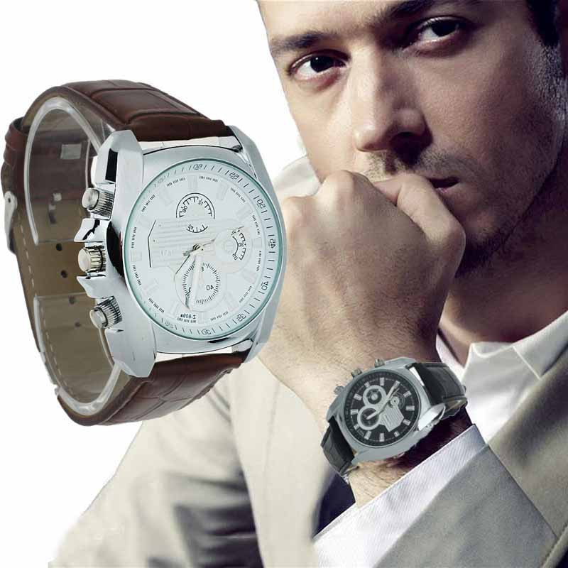 Watch Men Stainless Steel Case Faux Leather Strap Quartz Analog Wrist Watches Business Brand Luxury Digital Relogio masculino<br><br>Aliexpress