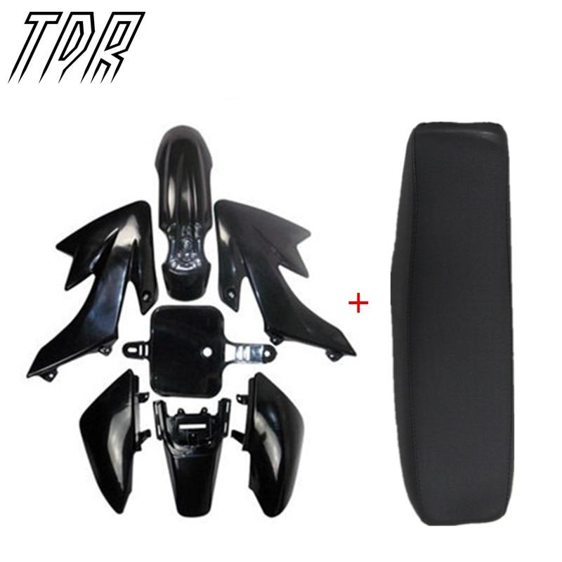 TDR Black Flat Tall Seat + Plastics Plastic Fender for Honda CRF 50 XR50 Dirt Pit Bike HHY<br>