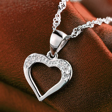 LIAMTING New Fashion 100% 925 Sterling Silver Heart Pendants Necklace Women Jewelry Wholesale With 5A Cubic Zircon Pendant VA157