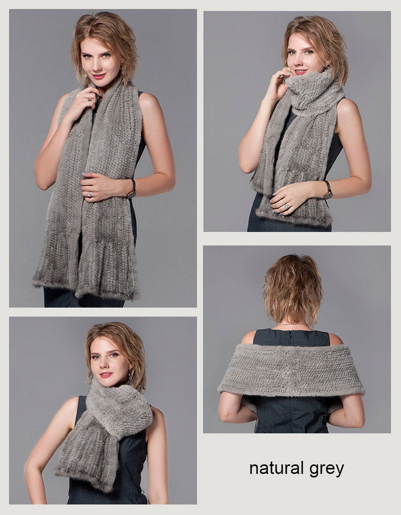 color grey mink fur scarf
