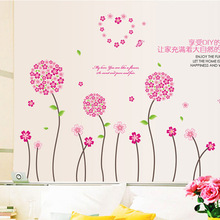 New product Romantic and warm background adornment wall stick red pink adornment bedroom wall stickers