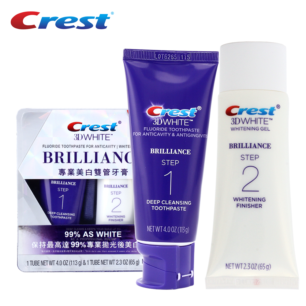 Crest 3D White Brilliance Toothpaste Teeth Whitening Gel Anticavity Tooth Paste Deep Clean Polisher Squeezer Toothpaste 113g+65g<br>