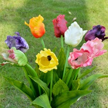 29.5'' PU Latex Tulip Real Touch Wedding Decorations 12 Pcs Home Decorative Flores China Artificial Flowers Wholesale(China)