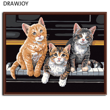 Frameless pictures Digital oil painting decorative pictures hand painted canvas painting by numbers 40*50 piano cat G361(China)