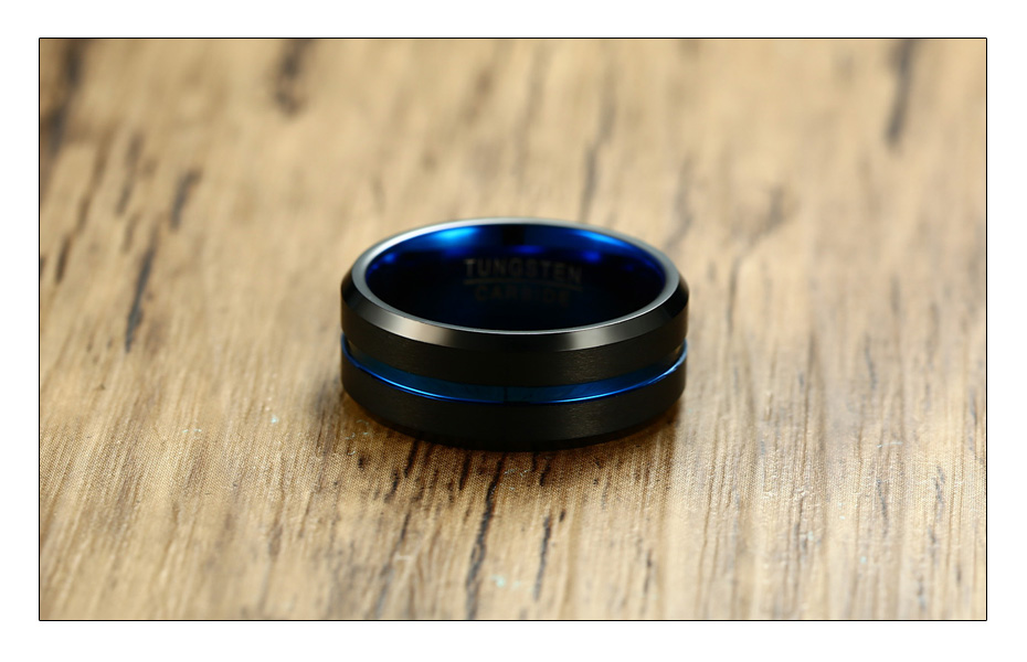Meaeguet Black Tungsten Carbide Ring For Men Women Matte Finished Wedding Bands Trendy Blue Carbon Fiber Groove Rings Jewelry (3)