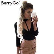 Buy BerryGo Autumn winter cotton jumpsuit romper Sexy halter v neck hollow jumpsuits women Evening party long sleeve bodysuit