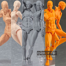 "6styles 6"" He She Human Male Female Body Kun Body Chan Movable Dolls Anime PVC Model Collection Toys figma in box"