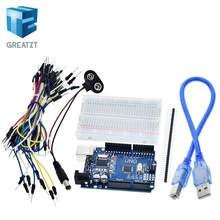 Starter Kit for arduino Uno R3 - Bundle of 5 Items: Uno R3, Breadboard, Jumper Wires, USB Cable and 9V Battery Connector(Китай)