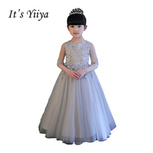 It's YiiYa Gray Half Sleeves Chiffon Illusion Flowers Floor Length Ball Gown Zipper Princess Flower Girl Dresses Communion TS247(China)