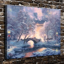 H1283 Thomas Kinkade Holiday at Central Park , HD Canvas Print Home decoration Living Room Bedroom Wall pictures Art painting(China)