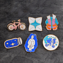 Cartoon Brooch Bicycle Girl Shoes Origami Wishing bottle Travel around the world Enamel pins Backpack Jacket Lapel Pin Badge(China)