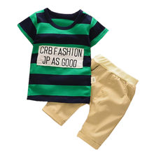 New 2017 Baby Boys Clothing Set Summer Kids Letter Stripes T-shirt+short Pants 2pcs Suit Children Casual Clothes Sport Costume
