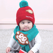 Baby Boys Girls Beanie Hat With Pompom Multicolor Baby Caps Scarf Set Yellow Cartoon Monkey Hats Accessories for 6-24 Month(China)