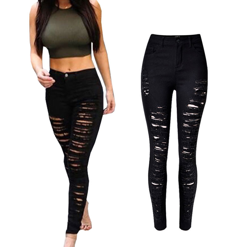 Skinny Jeans Woman High Waist Ripped Jeans For Women Denim Pencil Pants Slim Trousers For Women Elastic Womens Jeans Plus SizeОдежда и ак�е��уары<br><br><br>Aliexpress