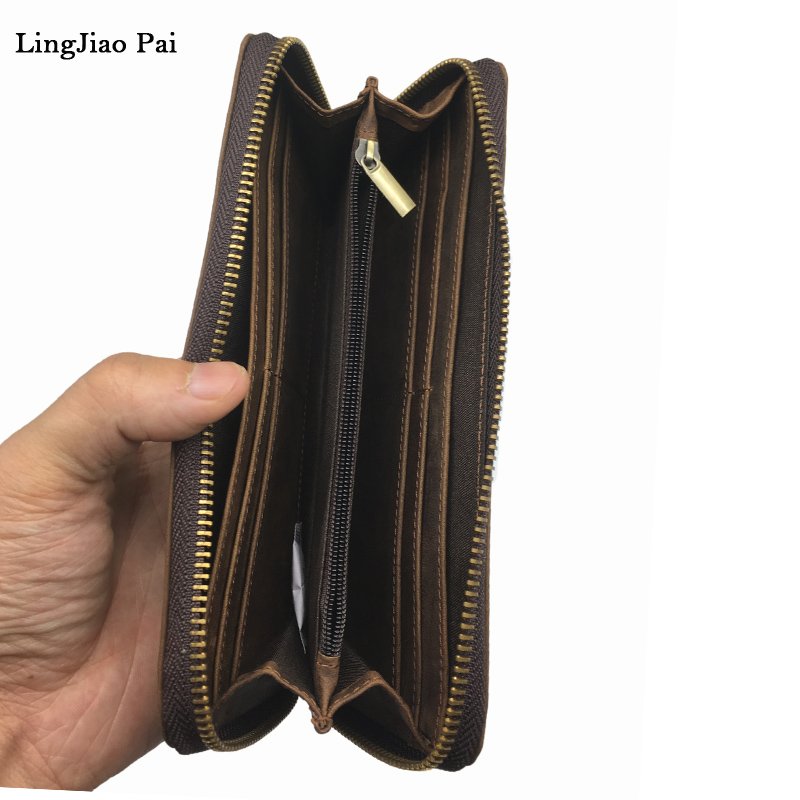 LingJiao Pai Vintage Crazy Horse Genuine Leather Men Wallets Multi-Functional Cowhide Coin Purse Cell Phone Pocket Wallet <br>