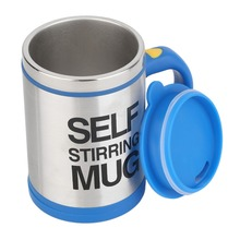 400ml Stainless Mixer Automatic Electric Self Stirring Mug Coffee Mixing Drinking Cup Skinny Moo Mixer, Bluw Coffee Mixing Cup(China)