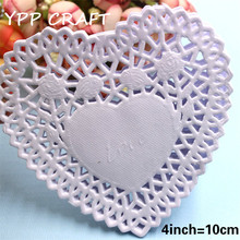 "YPP CRAFT Creative Craft 4"" Inch Heart White Paper Lace Doilies Cake Placemat Party Wedding Gift Decoration 100pcs/pack"