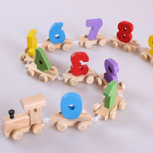 2017 New Funny Learning Words Train Small Toy Children 's Early Learning Wooden Enlightenment Puzzle Toys Hot Sale