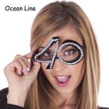 Funny No.40th Crystal Diamond Decorated Glasses Novelty Mask for Birthday Gifts and Party Supplies Decoration(China)