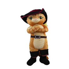 Anime Cartoon Shrek Puss in Boots Black Cat Plush Toy Soft Stuffed Animal Doll 38cm Christmas Gifts 39cm(China)