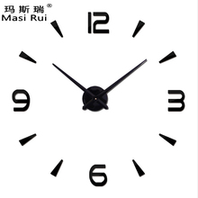 2017 special large diy wall clock modern design Living Room quartz 3d big acrylic wall watch clocks mirror stickers home decor(China)