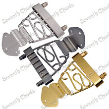 A Set Trapeze Short 6 String Archtop Tailpiece Bridge for Hollow Semi Hollow Guitar with Wired Frame Chrome Black Gold