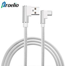 USB Type C Cable Samsung Galaxy S8 Xiaomi Redmi Note 4X 90 Degree Reversible Braided Type-C Data Charge Cable Oneplus 5T