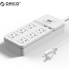 ORICO SPT-S6 Smart USB Power Strip Socket US Plug Overload Switch Surge Protector 6 Outlet 2 Port USB Charger 1.5M Power Cord