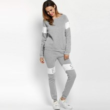 2017 Casual Tracksuit Print Women Hooded Pullovers Sweatshirt+Pants 2 Pcs Long Sleeve O neck Track Suit