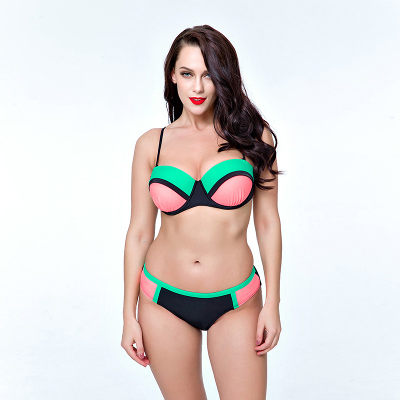Large Size Big Top/Bottom Push Up Tankini Set New Sexy Ball Color Swimsuit Plus Size Bikini Women Swimming Suit Female Padded<br>