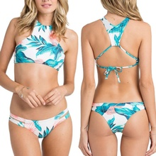 2018 Summer Swimwear Women Two-piece Floral Halter swimsuit Europen and American Hot Surfing Beach Bathing Swim Suits Biquini(China)
