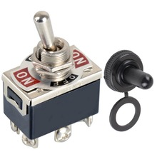 1 Piece DPDT Mini Waterproof Switch Cap 6-Pin On-Off Miniature Toggle Switches 15A 250V VE183 P0.4(China)