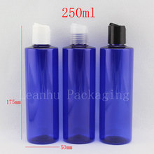 wholesale  250ml  round blue color empty shampoo  plastic bottle with disc top cap,PET bottles for shower gel ,hair conditioner
