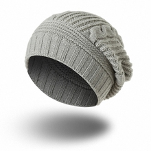 Hot Knitted Beanie Winter Hat Women Men Touca Gorro Snow Caps Knit Hat Skull Chunky Baggy Warm Skullies H011-grey