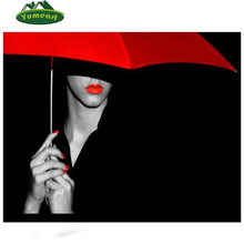 5d DIY Diamond Embroidery Red Parasol Girl Diamond Mosaics Drawing Handmade Cross Stitch Kit Sexy Women Wedding Decoration Gifts