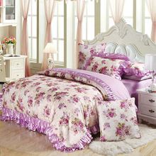 Purple cotton satin bedding set queen king size 4pc or 6pcs bedclothes (duvet cover +quilted bedspread+pillowcases)