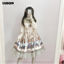 2017 NEW Summer Women Long Sleeve Op Dress Cute Japanese Sweet Lolita Lorie Lovely Band Bear Bowknot Lace Gift