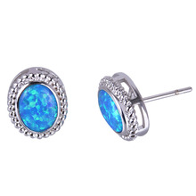 C.QUAN CHI Jewelry Blue Fire Opal Hollow Sterling Silver Stud Earrings For Women Girl Friend Mum Birthday Wedding Party Gifts(China)