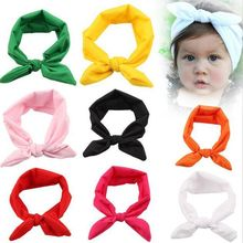 30pcs/lot 8 Colors top knot headband Kids girl hair wrap bands bunny rabbit ears turban headband turbante headwraps accessories