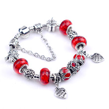 Exquisite Silver Crystal Charm Bracelet 925 for Women Silver Snake Chain & Murano Glass Red Bead Bracelet Authentic Jewelry B067