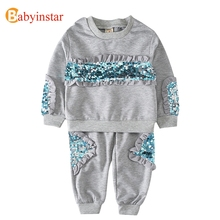 Babyinstar Sequins Kids Girl Clothing Set Beading and Ruffles Cotton Sport Girls Clothes Long Sleeve Fashion Children Suit Set(China)