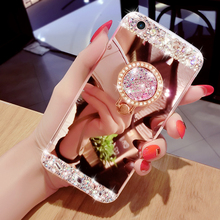 Buy Luxury Diamond Silicone Mirror Ring Case iPhone 7 6 6s Plus 5 5s SE Cover Fashion Bling Plated Phone Cases Holder Stand for $3.65 in AliExpress store