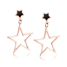 Fleure Esme Panic buying Stainless Steel Temperament pentagram Rose Gold Color Earrings GE396 Romantic Style Women Jewelry Gift(China)