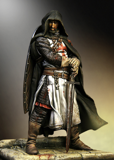 Assembly Scale 1/18 90mm Templar Sergeant, XIII century 90 mm figure WWII Resin Model Free Shipping Unpainted(China (Mainland))