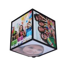 Fashion Revoling Multi Picture Photo Frames Cube Black Home Decor Family