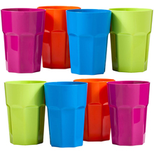 Home Use Party Supplies Plastic Cups 420ml 4 Pcs Juice Drinks Cup Reusable Bright Color Kids Cups