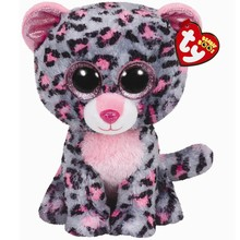 "Ty Beanie Boos 6"" Tasha The Grey and Pink Leopard Beanie Baby Plush Stuffed Doll Toy Collectible Soft Big Eyes Toys"