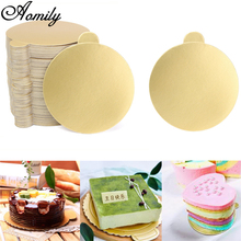 Aomily 100pcs/Set Round Mousse Cake Boards Gold Paper Cupcake Dessert Displays Tray Wedding Birthday Cake Pastry Decorative Kit(China)