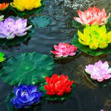 1PC Artificial Lotus Water Lily Floating Flower Pond Tank Plant Ornament 10cm Home Garden Pond Decoration Suumer Decor