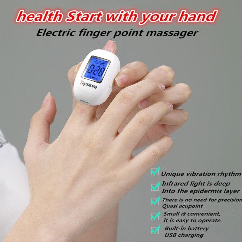 1PCS Multi-functional intelligent infrared electric mini finger massager improve vision dredge bowel USB charging<br>